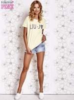 Żółty t-shirt z napisem LIU J❤                                  zdj.                                  2